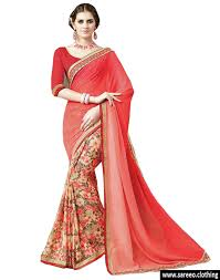 new designer indian choice georgette red color printed saree
