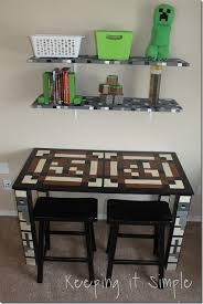 How To Craft A Crafting Table Boys Homework Station Diy Minecraft Crafting Table Keeping It