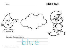 coloring pages recognizing colors blue kindergarten coloring