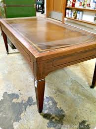 Leather Top Coffee Table Wood Planked Coffee Table From Thrifty Decor Chick