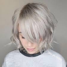 ash blonde choppy bob with bangs chop pinterest short