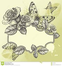 Roses And Butterflies - vintage frame with blooming roses and butterflies royalty free
