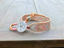 woven bracelet with beads images Faded silver and rose gold diamond chevron bead loom woven jpg