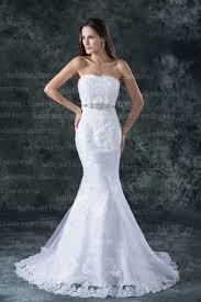 White Wedding Dresses Lace White Beach Wedding Dresses Elegent Mermaid Trumpet Strapless