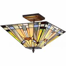 flush mount craftsman lighting ceiling light fixture mission lighting tiffany style semi flush