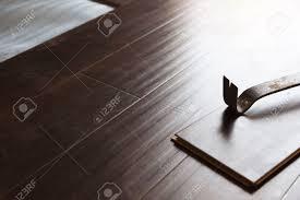 Laminate Flooring Installation Tools Pry Bar Tool With New Laminate Flooring Abstract Stock Photo
