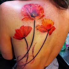 pictures of poppy flower tattoos realistic poppy flower back