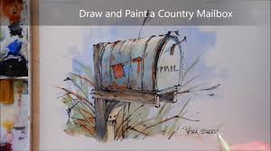how to draw and paint a country mailbox line and wash watercolor
