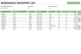Excel Templates For Inventory Management Warehouse Inventory Template