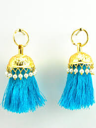 jhumka earrings flamingo jhumka earrings with turqoise threads royale