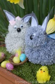 how to make easter pom pom bunnies from evija with love