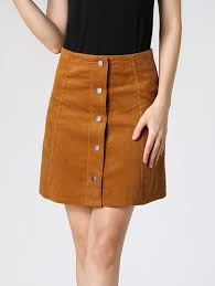 corduroy skirts buttoned high waist corduroy skirt in camel xl sammydress
