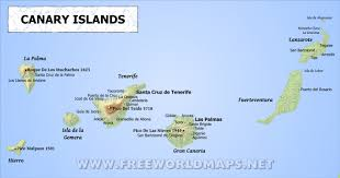 map of the islands canary islands physical map