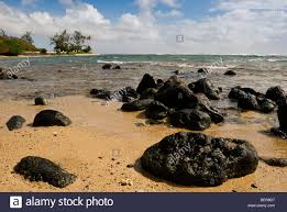 Black Sand Beaches Maui by Black Lava Rocks On Yellow Sand Beach In South West Molokai Hawaii