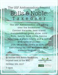 Barnes And Noble Member Card Usf Alumni Usf Ambassadors Bulls U0026 Noble Takeover