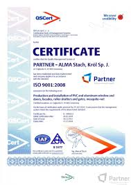 certificates partner the producer of windows and doors pvc