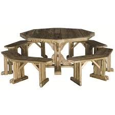 amish pine octagon patio table with benches 872 liked on