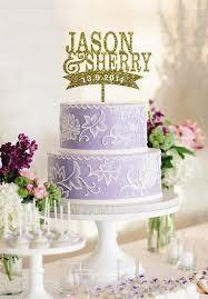 wedding cake name custom name and wedding date cake topper