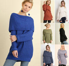 Chunky Cable Knit Off Shoulder Solid Sweaters For Women Ebay