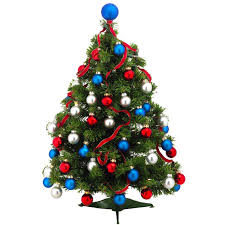 christmas tree decorations blue and red