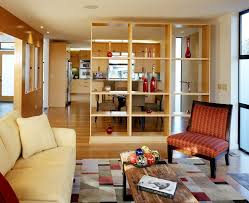 entrance divider living room contemporary with bookshelf partition