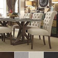 Dining Table Chairs Set Benchwright Button Tufts Upholstered Rolled Back Parsons Chairs