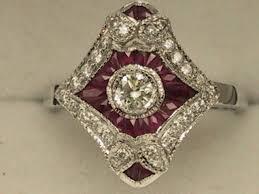 art deco style 18ct white gold ruby u0026 diamond cluster ring uk size