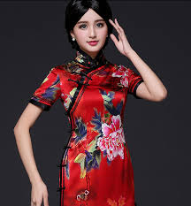 Chinese Wedding Dress Floral Silk Short Sleeve Mandarin Collar Red Chinese Wedding Dress