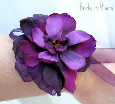 purple corsage purple flower wrist corsage in bloom