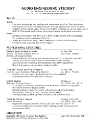 Resume Example 47 College Of by Audio Engineer Resume Sample Http Resumesdesign Com Audio