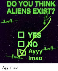 Ayy Lmao Meme - do you think aliens exist ayy imao ayy lmao ayy lmao meme on