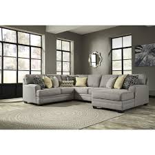 Ashley Furniture Leather Sectional With Chaise Ashley Furniture Cresson Raf Corner Chaise Sectional In Pewter