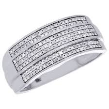 wedding band men diamond wedding band men s 10k white gold 3 row cut pave