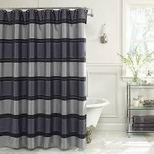 84 Inch Fabric Shower Curtain Jardin Stripe 72 Inch X 84 Inch Fabric Shower Curtain In Navy