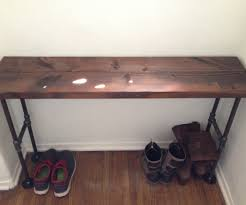table interesting easy modern black iron pipe bench entryway table