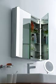 two door mirror cabinet with led bathroom