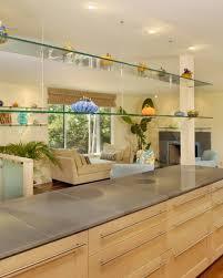 glass shelf between kitchen cabinets glass suspended shelves houzz