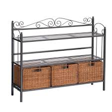 Container Store Bakers Rack Harper Blvd Baker U0027s Rack With 3 Rattan Drawers Free Shipping