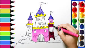 draw color paint princess castle coloring pages and learn colors