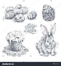set hand drawn sketches easter rabbit stock vector 259457048