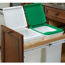 Kitchen Cabinet Trash Can Pull Out Rev A Shelf Double Pull Out Waste Bins For 15 U0027 U0027 And 18