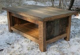 awesome barn reclaimed wood coffee table with single tier shelf as
