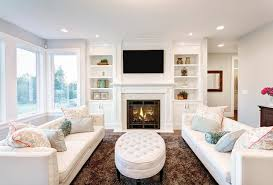 Living Room Wallpaper Gallery Photo Lounge Sitting Room Interior Fireplace Couch Pillows Design
