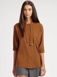 brown blouse lyst fendi streamer blouse in brown