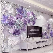Bedroom Wallpaper Design High Quality Custom 3d Stereoscopic Purple Flowers Bedroom