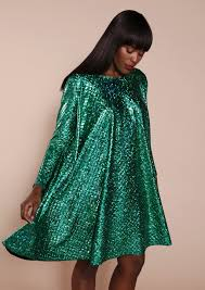 tent sequin green mini dress with long sleeves