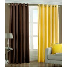 Yellow Brown Curtains Plain Curtain Dealers In India
