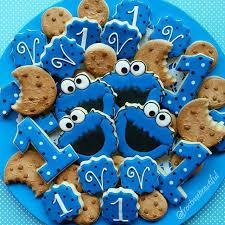 splendid cookie monster 1st birthday cookies birthday cookies