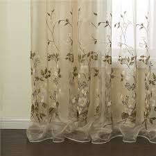 Embroidered Sheer Curtains One Panel Country Embroidered Beige Floral Pattern Polyester