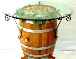 wine barrel table with wrought iron brackets home pinterest